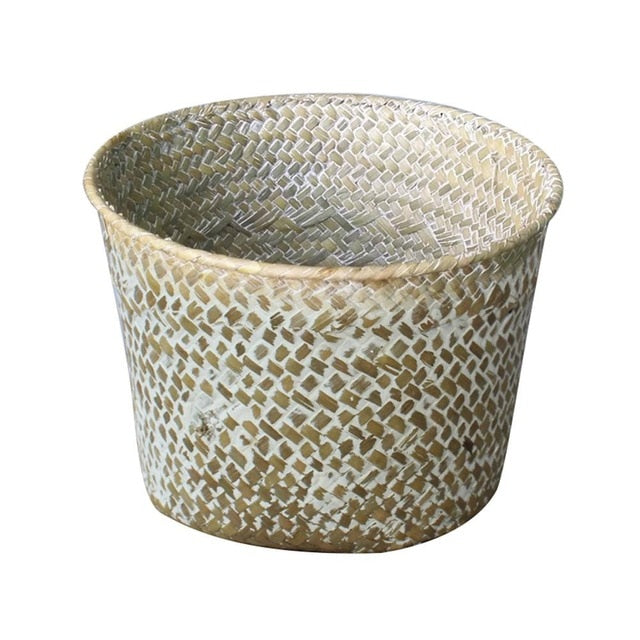 Hand-Woven Fruit Flower Basket Cosmetics Jewelry Home Storage Basket Flowers Cloth Book Organizer Desk Storage Box