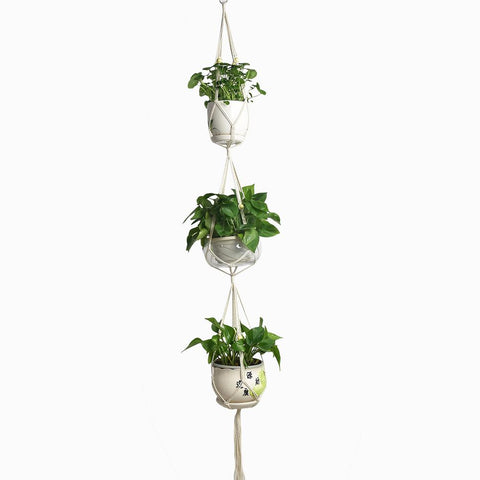Hand-knitted Cotton Rope Hanging Basket Home Gardening Bonsai Three-layer Flower Pot
