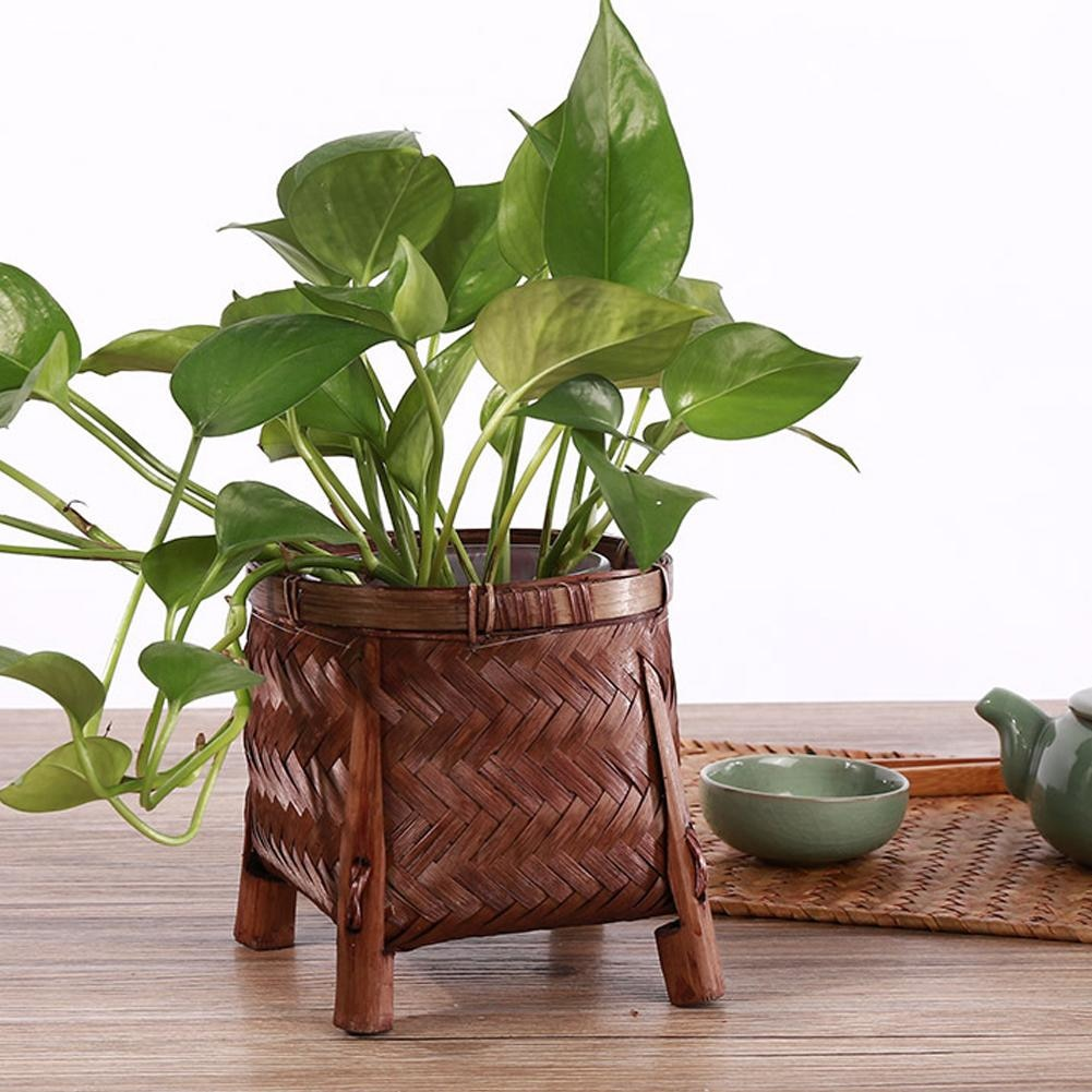 Handmade Bamboo Woven Vintage Tea Set Tea Storage Basket Weaving Green Plant Succulent Flower Pot
