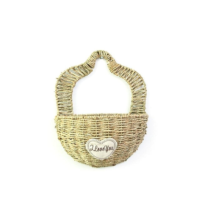 Handmade Flower Pot Willow Woven Wall Hanging Flower Basket Clutter Storage Basket for Garden Wall Indoor Outdoor Decoration
