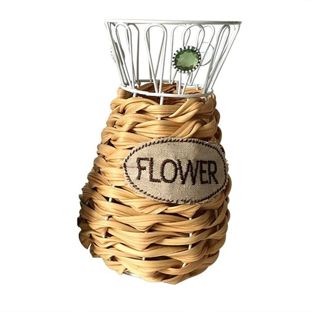 Handmade Flower Pot Woven Wall Flower Basket Clutter Storage Basket For Garden Wall Indoor Outdoor Decoration