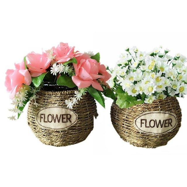 Handmade Straw Braided Hanging Flower Basket Hand-Woven Craft Home Decoration Storage Basket Flower Arrangement Planter