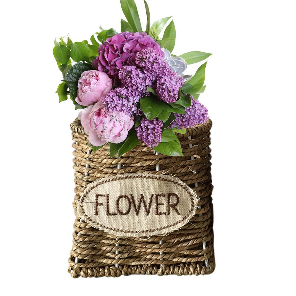 Indoor Handmade Straw Braided Flower Basket Hand-Woven Craft Home Decoration Storage Basket Flower Arrangement Planter