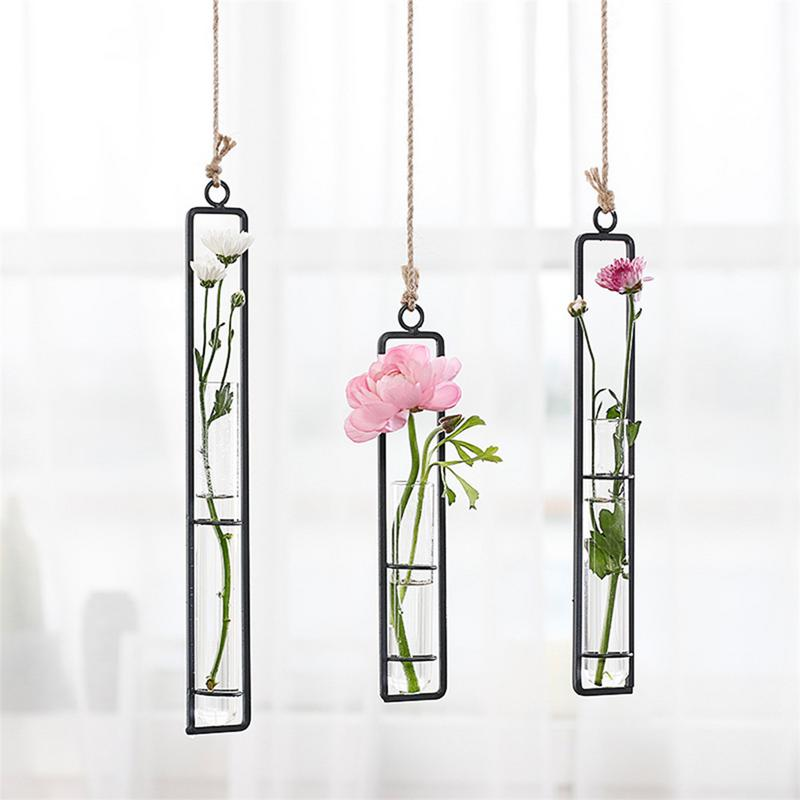 Iron Hanging Flower Vase Hydroponic Plant Flower Pots Bonsai Hanging Pot Home Garden Wedding Vase Decoration