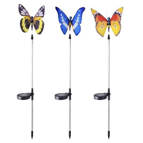 LED Solar Butterfly Shape Garden Light Color Cycle Landscape Decorative Lawn Light
