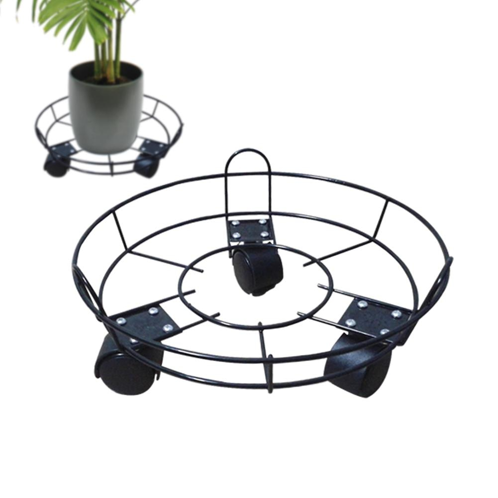 Modern Iron Rack Holder Metal Stand Flower Rack Tray Mobile Flowerpot Holder With Fence