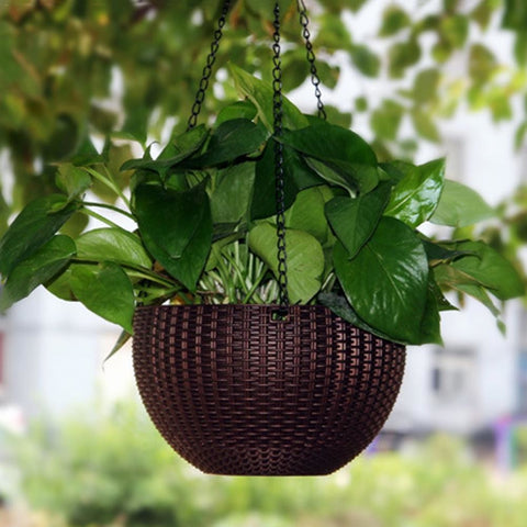 Modern Rattan-Woven Hanging Baskets Home Resin Hanging Plant Flower Pots With Hanging Chain Garden Balcony Decoration