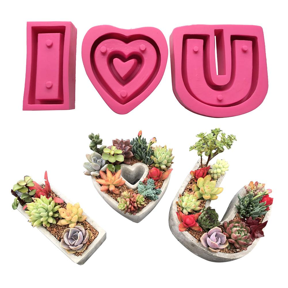 Mould Succulent Flower Pot Creative Cement Cartoon Heart Shaped Flower Pot Set Silicone Mould- I Love You Series