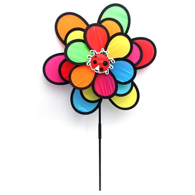 New Colorful Triple Wheel Rainbow Insect Wind Spinner Garden Decoration Windmill Garden Yard Outdoor Decor