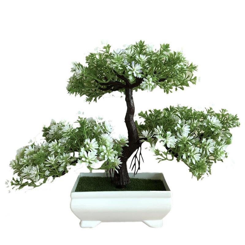 New Ganoderma Tree Lotus Pine Tree Simulation Plant Flower Bonsai Set Small Potted Green Plant Home Decor Table Top Decoration C