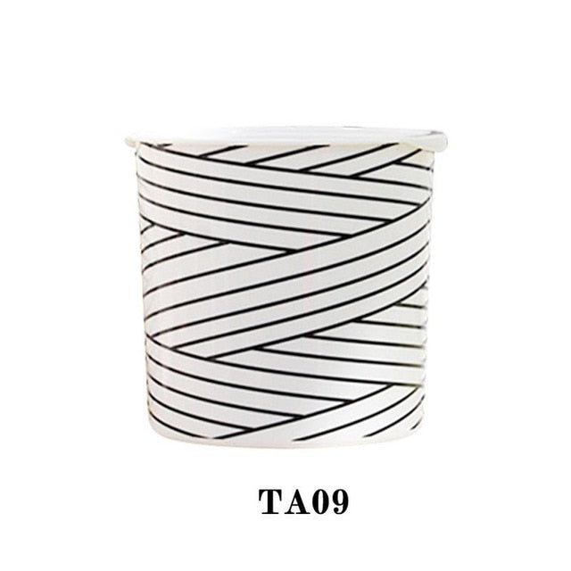 Nordic Style Garden Planting Pot Striped Print Flower Pot Automatic Water Absorption Flower Basket