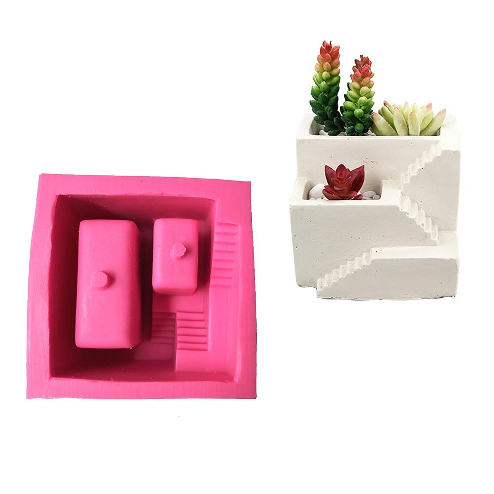 Nordic Style House Stairs Shaped Cement Pots Silicone Mold Flower Vase Succulent Flower Pot