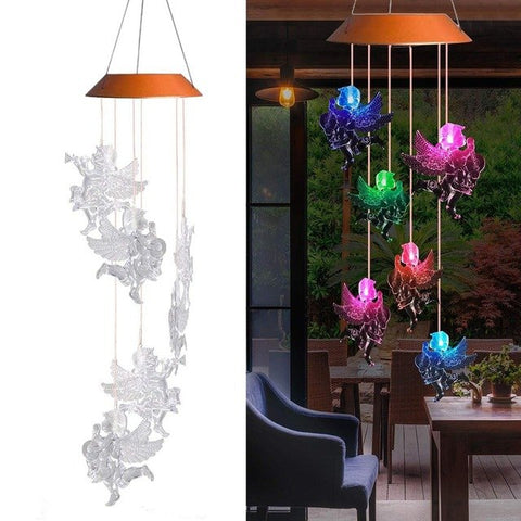 Outdoor Solar Lamp Angel Doll Shaped Wind Chime Garden Decor Solar Powered Color-Changing Wind Chime