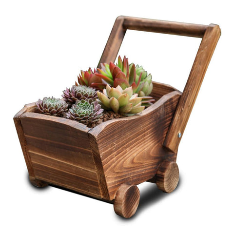 Personalized Rectangular Cartoon Cart Shaped Flowerpot Carbonized Succulent Plants Pot Convenient Macetas Decorativas