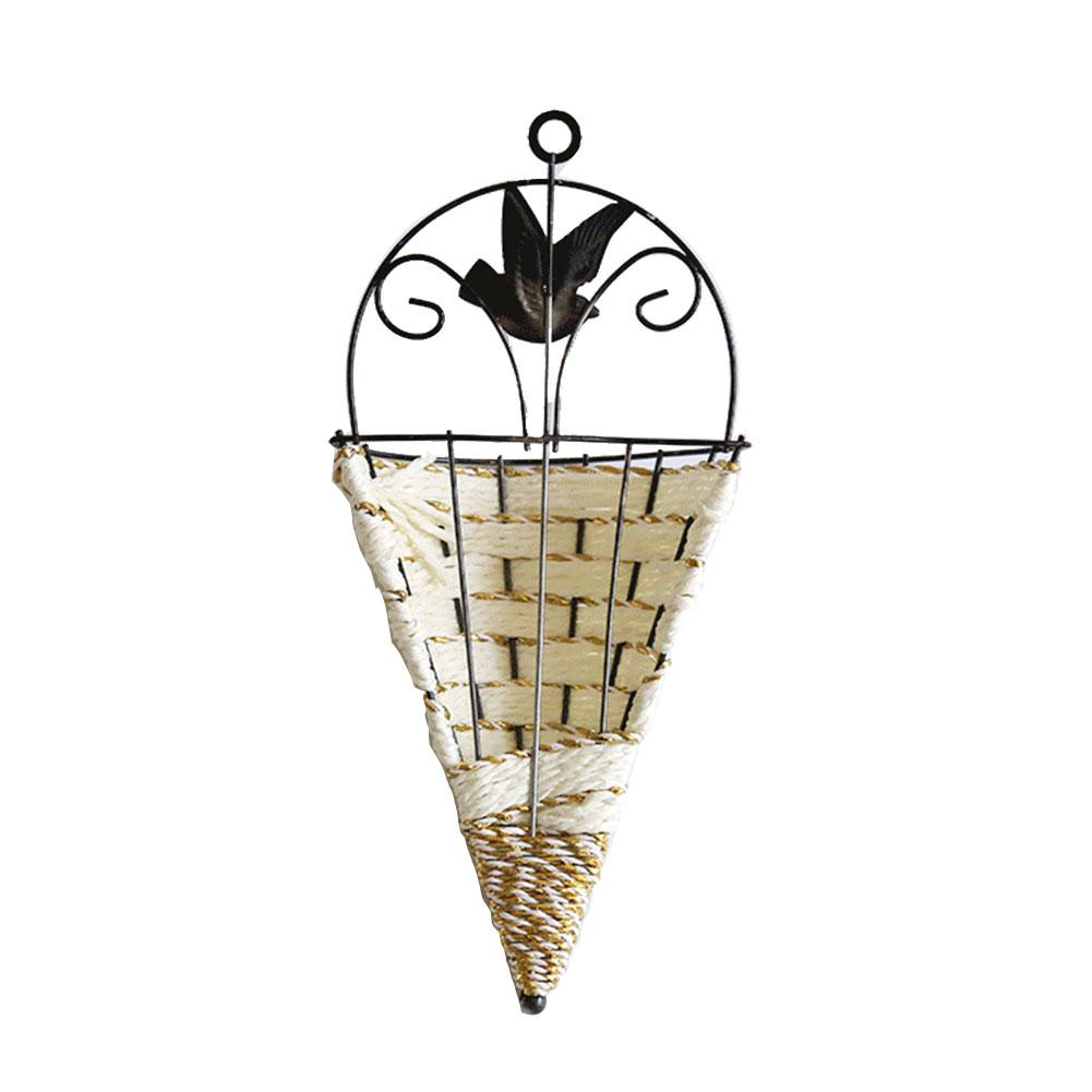 Random Color Delivery Iron Rattan Woven Wall Hanging Basket European Pastoral Style White Iron Wall Hanging Vase Flower Planter