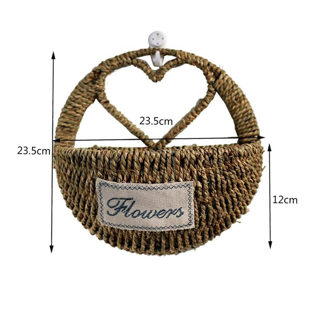 Rattan Braided Basket Green Plant Basket Wall Hanging Flower Pot Planter Hanging Vase Container Home Garden Wall Decoration