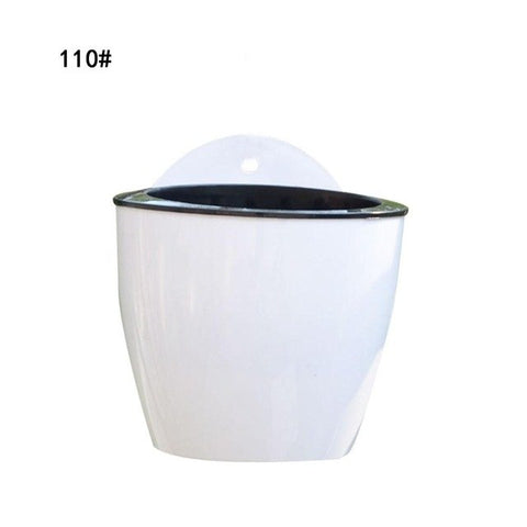 Self Watering Plant Flower Pot Wall Hanging Round Resin Plastic Planter Basket Garden Supply Home Garden Without Hooks