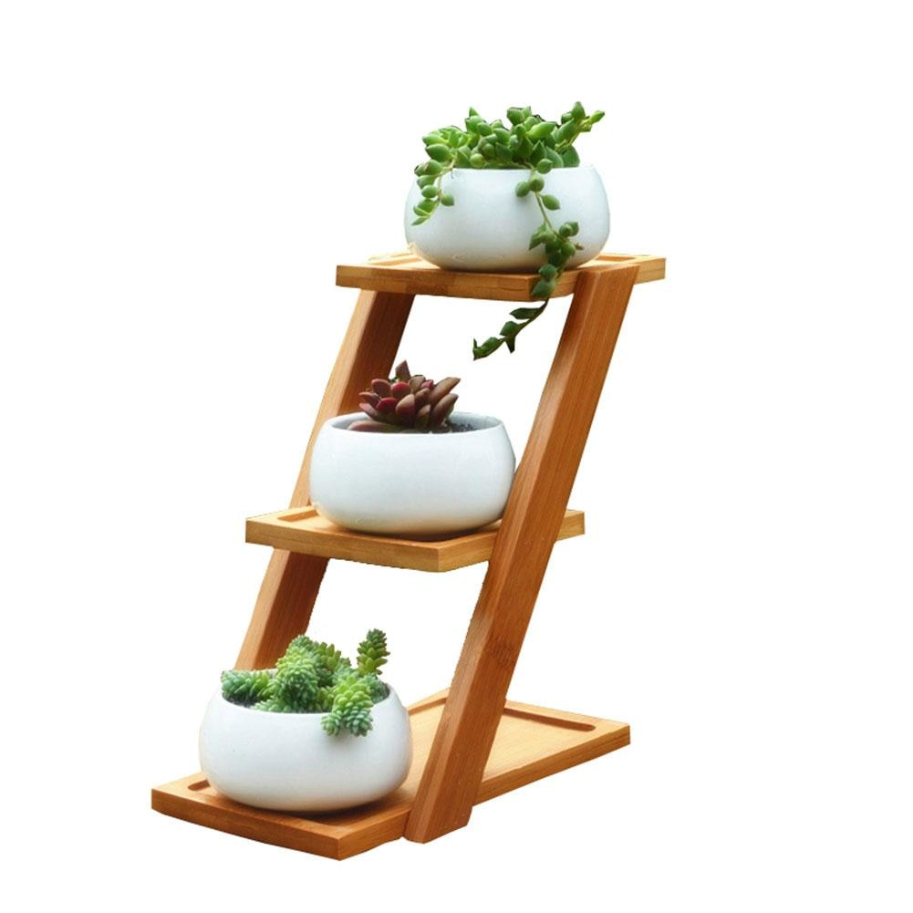 Simple Creative White Succulent Plant Flower Pot Holder Ceramic Decorative oblate Flower Pot & Three-layer Bamboo Shelf Pot Set