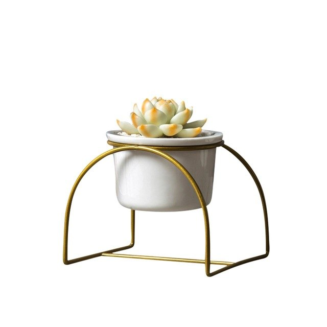 Simple Iron Arched Stand Ceramic Succulent Green Plant Round Pot Ceramic Pot Iron Stand Set Flower Plant Pot