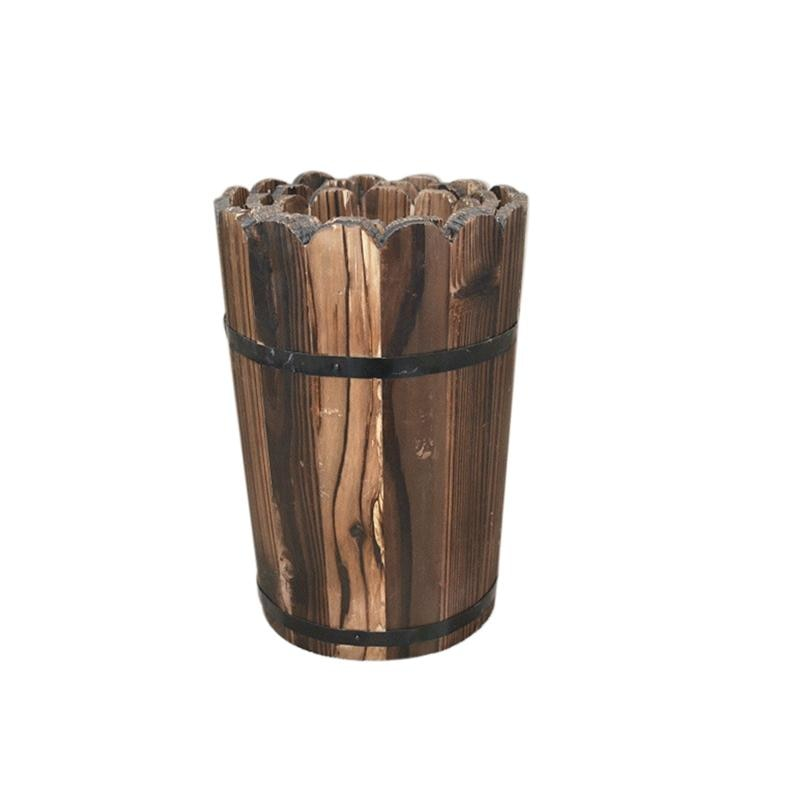 Simulation Flower Carbonization Anti-corrosion Wood Flower Pot Old Retro Floor High Flower Pot Wedding Props Shoot Decoration