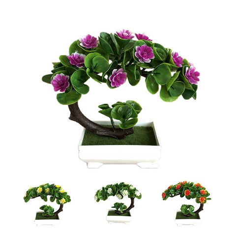 Simulation Half Moon Shape Lotus Flower Potted Green Bonsai Decoration Small Bonsai Home Decor Table Top Ornaments