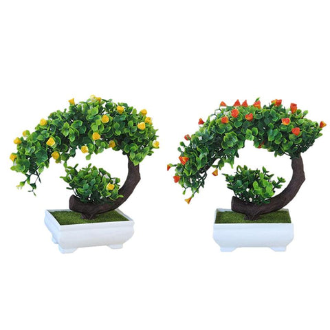 Simulation Of Crescent Rose Potted Plant Fake Flower Bonsai Plastic Flower Set Indoor Living Room Small Floral Artificial Bonsai