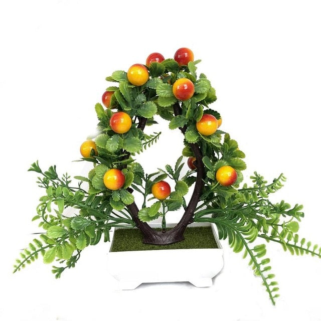 Simulation Of Green Plants Small Potted Bonsai Love Fortune Fruit Auspicious Fruit Garden Decoration