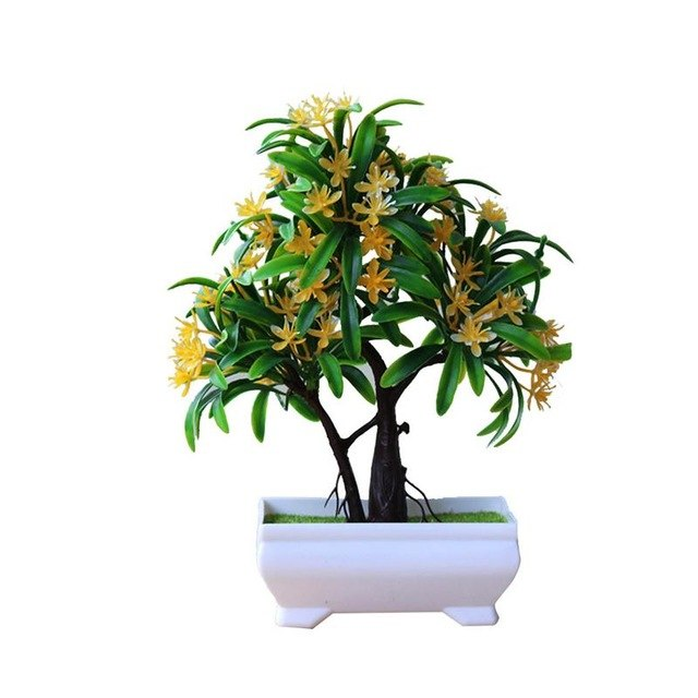 Simulation Of Luo Han Flower Potted Plant Floral Green Bonsai Decoration Small Artificial Bonsai Desktop Table Ornament