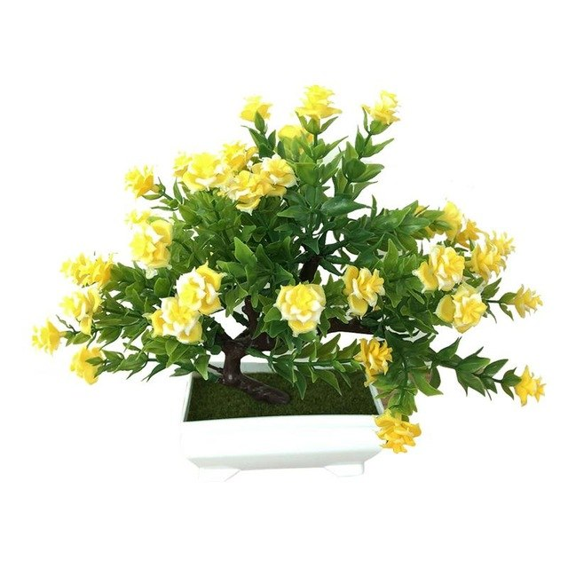 Simulation Rose Plant Multi-Fork Rose Potted Indoor Desktop Decoration Simulation Bonsai Craft Green Plant Decoration