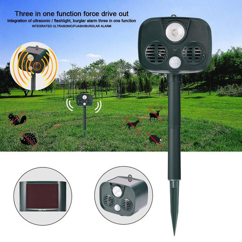 Solar Sensor Ultrasonic Strobe Light Burglar Alarm Animal Driver