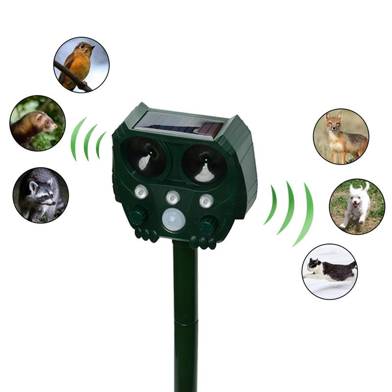 Solar Ultrasonic Strobe Light Mice Cats Birds Snake Repeller Strong Flashing White-LED And Ultrasonic Scare Animals