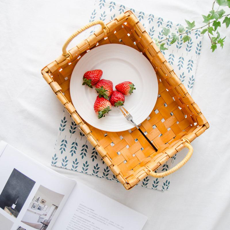 Square Woven Wood Chip Flower Basket Kitchen Storage Box Household Goods Storage Woven Basket Picnic Basket With Handle