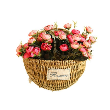 Three Patterns Grass Rattan Braided basket green plant basket Wall hanging flower pot Home Desk Hanging Decoration