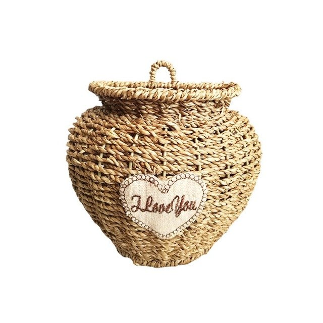 Wall Hanging Vase Flower Basket Flowerpot Flower Seaweed Woven Hanging Basket Rattan Braided Wall Hanging Plant