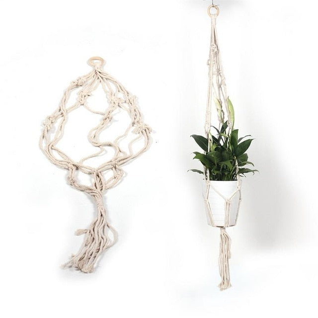 Wall Hanging flower pot Bag Woven Plant Holder flower pot Net Bag Basket Nordic Home Decoration Tapestry