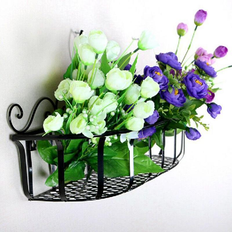 Wall Mounted Holder Hanging Flower Basket For Home Living Room Balcony Wall Mount Flower Pot Garden Decoration