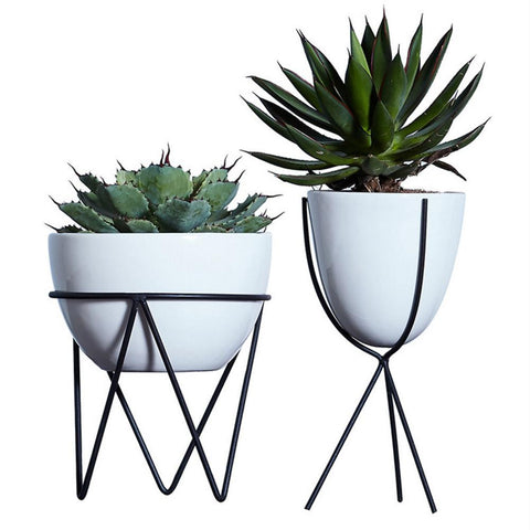 White Ceramic Flower Pot Hydroponic Plants Pot Succulent Plants Pots Interior Desktop Decoration With Iron Holder