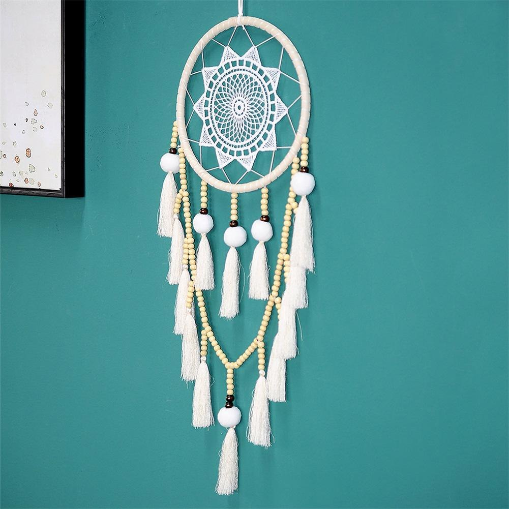 White Large Lace Dream Catcher Home Decoration Wall Hanging Decor Simple Handmade DIY Pompon Tasseled Hanging Decor