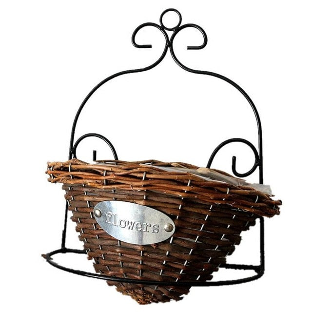 Wicker Rattan Braided basket green plant basket Wall hanging flower pot