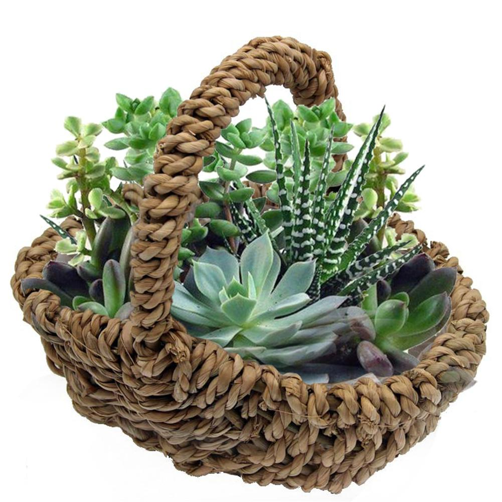 Willow Braided Flowerpot Cattail Rope Woven Basket With Plastic Lining Flower Pot Hanging Basket