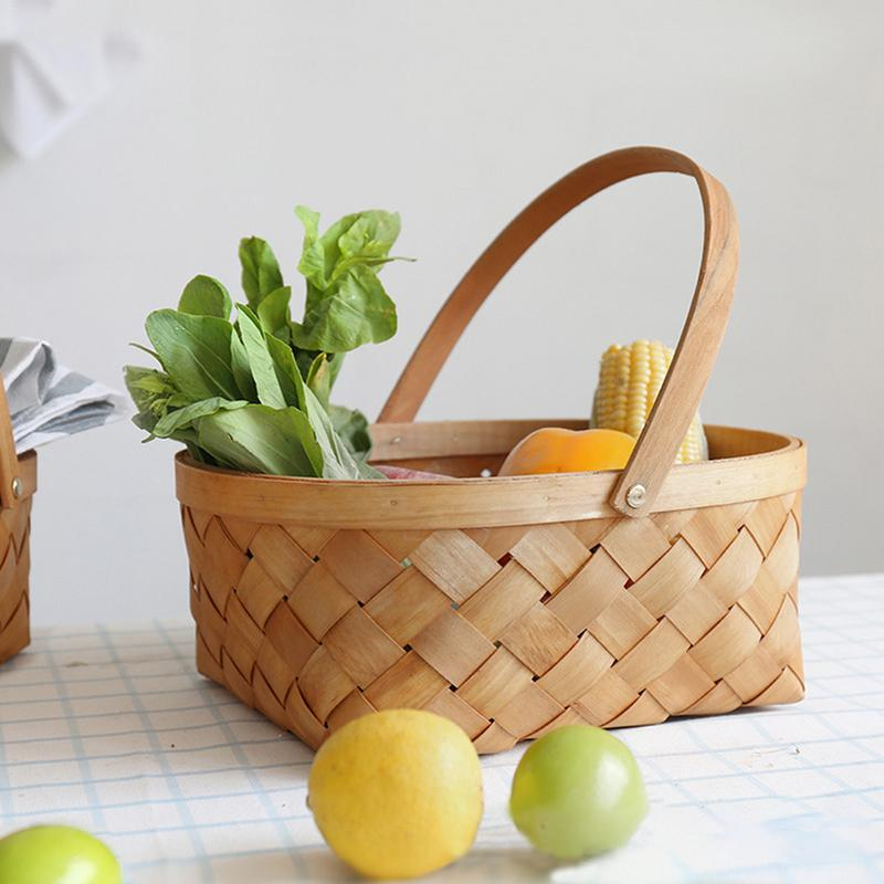 Wood Chip Weaving Flower Basket Houseware Storage Vegetable Fruit Basket Picnic Basket With Handle Woven Basket