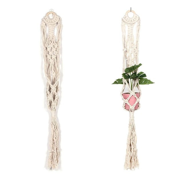 Woven Plant Holder flower pot Net Bag Wall Hanging Basket Nordic Home Decoration Tapestry