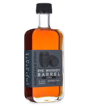 old state farms rye whiskey barrel aged pure maple syrup