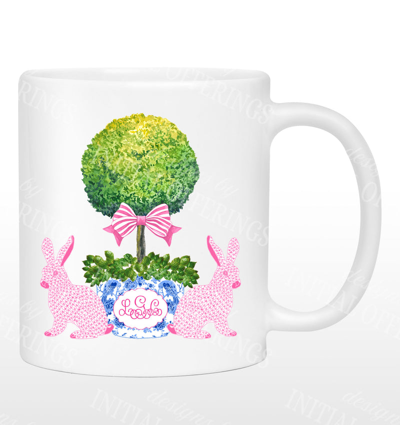 Bunnies with Topiary Mug