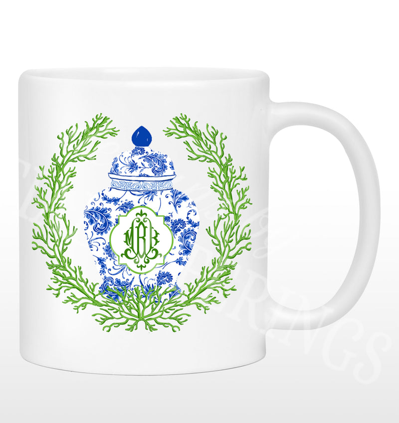 Ginger Jar Coral Wreath Blue and Green Mug