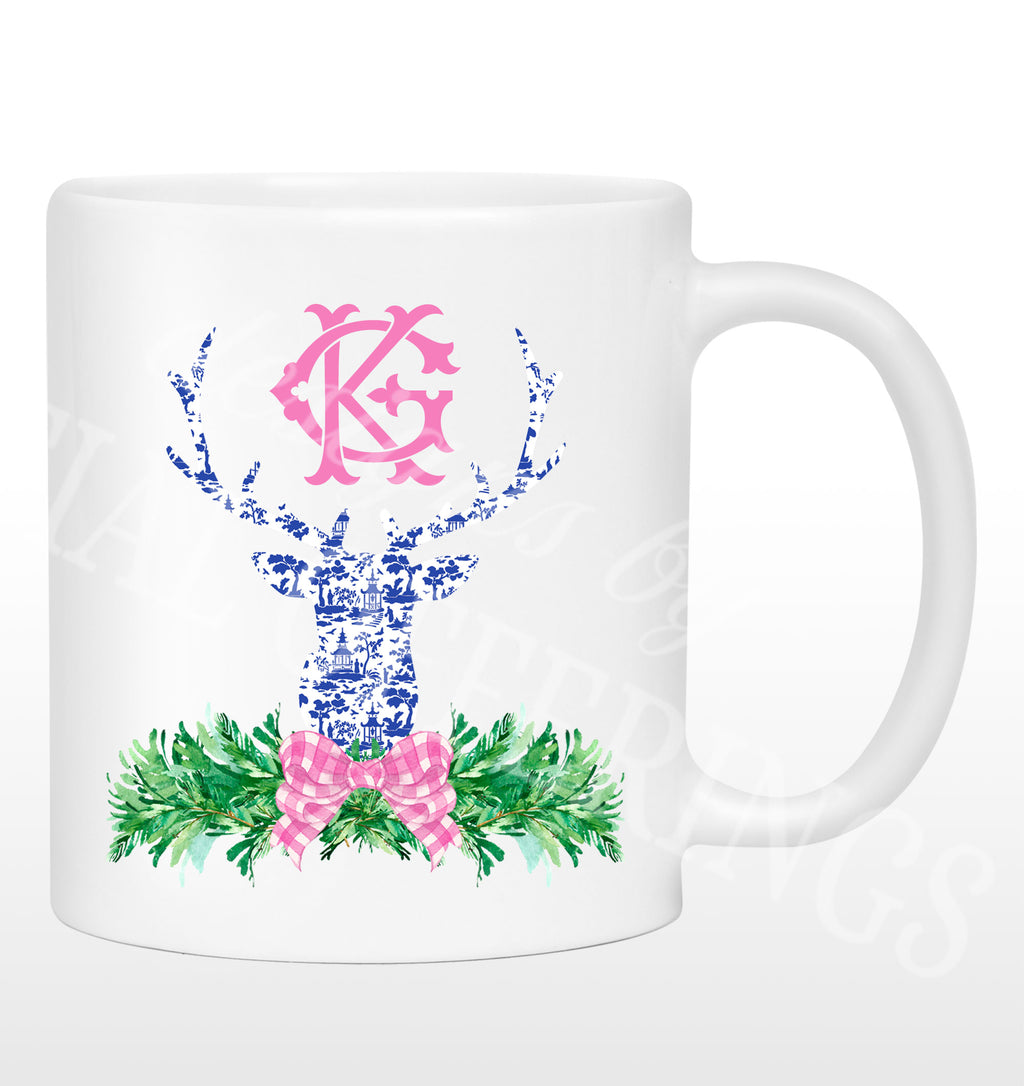Pink and Blue Pagoda Toile Stag Head Swag Mug