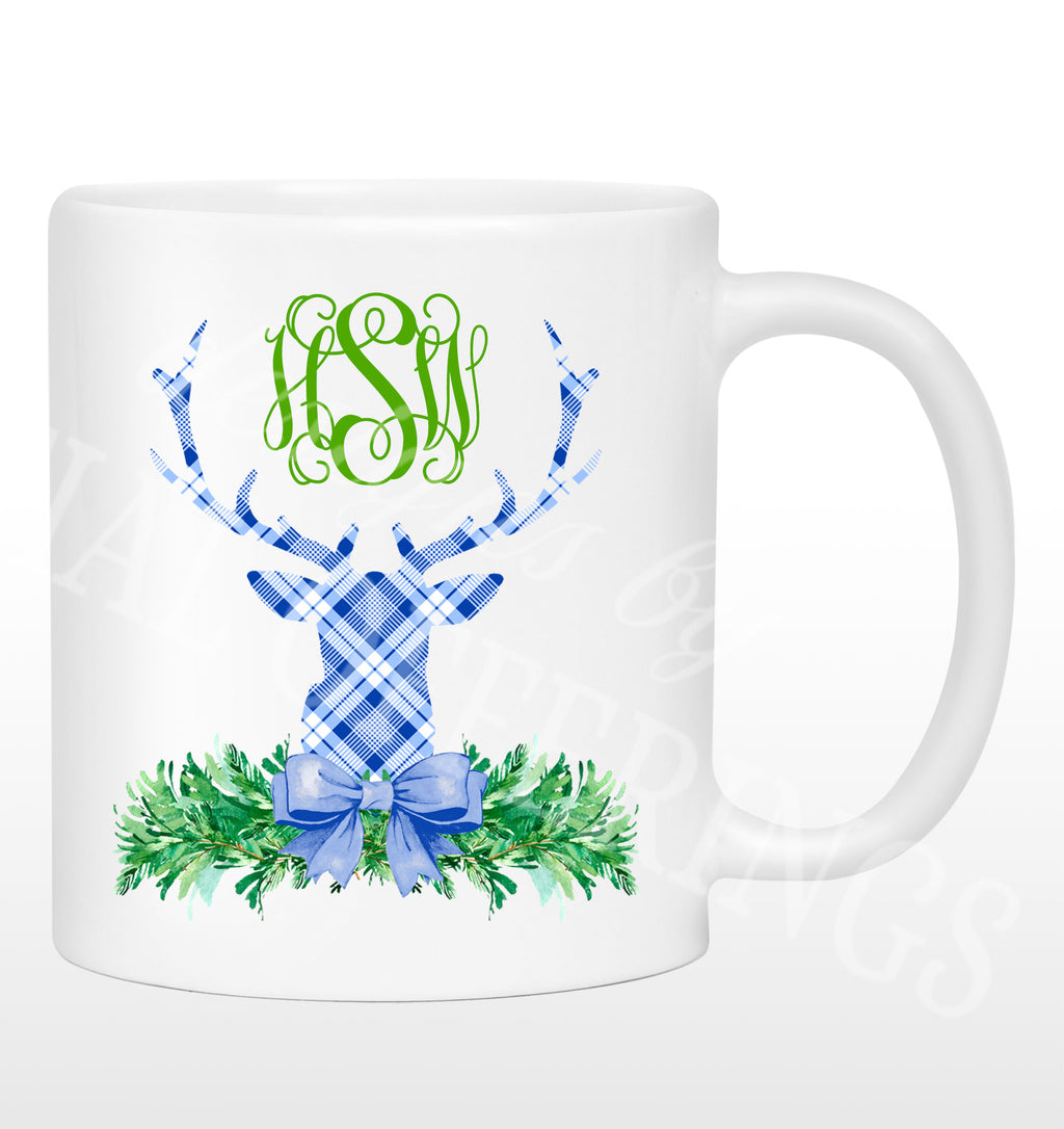 Blue and White Plaid Stag Head Swag Mug