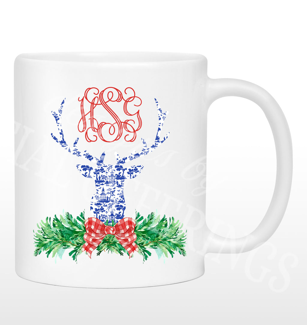 Red and Blue Pagoda Toile Stag Head Swag Mug