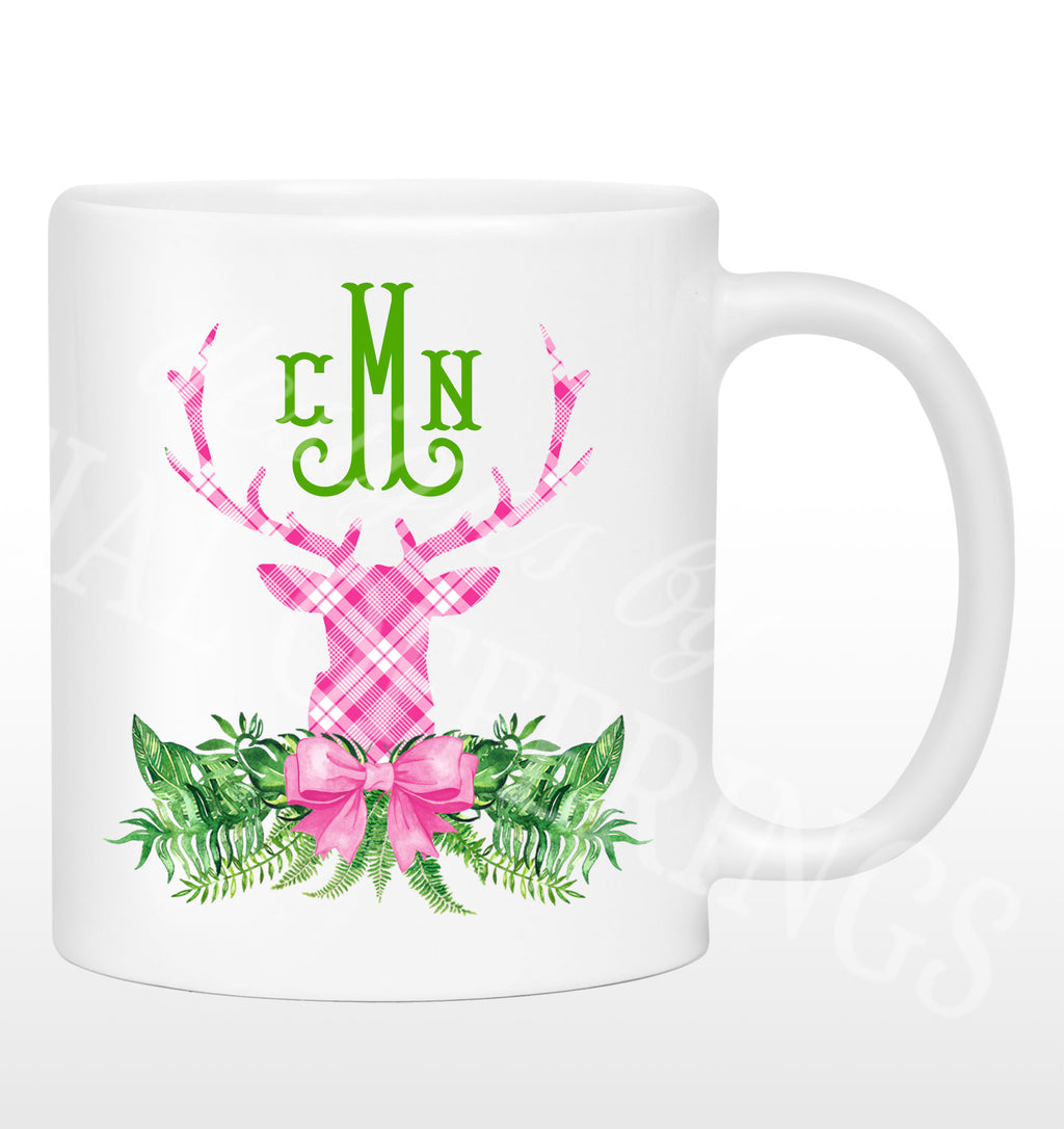 Pink and White Stag Head Swag Mug