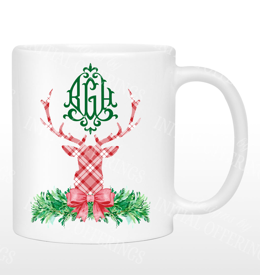 Red and White Plaid Stag Head Swag Mug